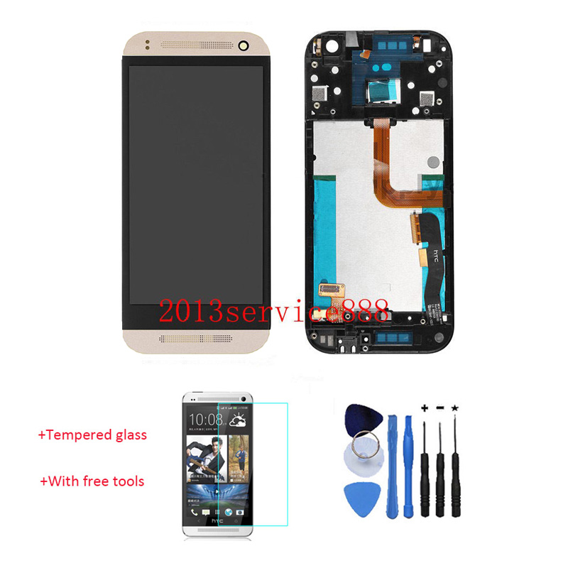 OEM 100% Test Working LCD Display Touch Screen Digitizer With Front Frame For HTC One Mini 2 M5 M8 Mini Gold + Tempered Glass
