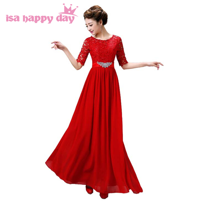 f6cdb90104c8 engagement floor scoop chiffon bridesmaid a line lace modest clothing  bridesmaids dress girls long length dresses red B3332