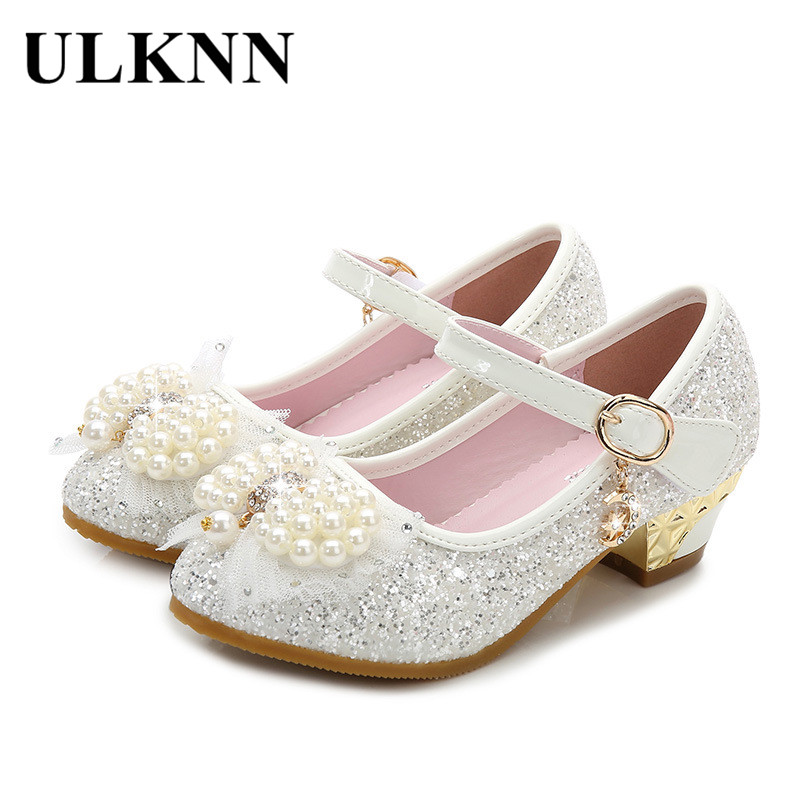 ULKNN Low Heel Kids Shoes For Girls Glitter PU Princess Shoes Children Girls Spring Autumn Party Wedding shoe chaussure enfant