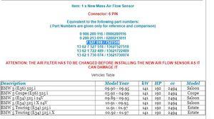 Image 2 - 13627527518 13621730074 0280213011 0986280116 13621722489 MAF Air Sensor for BMW  3 E36 325 i E34 5 525 i iX 24V Touring