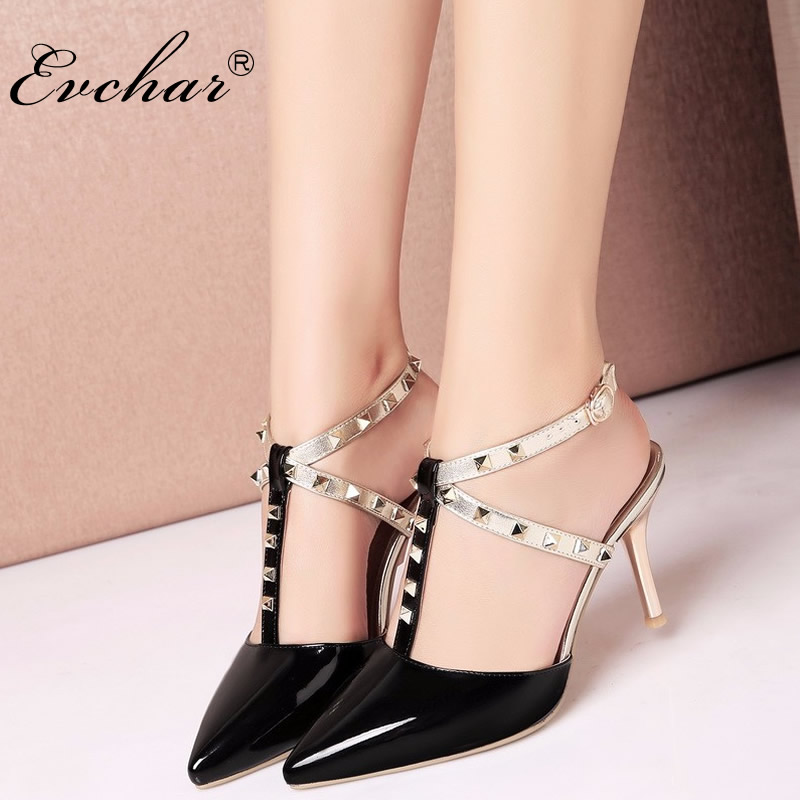 Hot Women sexy Ladies Pointed Toe High Heels Fashion Buckle Studded Stiletto party High Heel Sandals Shoes big size 32-43 weiqiaona new big size 33 43 fashion women shoes sexy lace ladies sandals mesh stiletto peep toe hollow high heel shoes woman