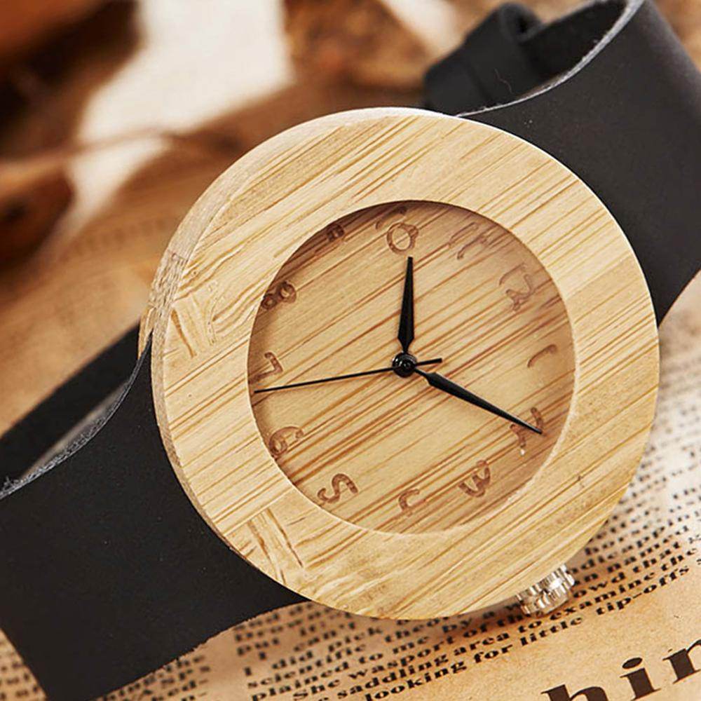 Bamboo Wood Watch Men Quartz Wristwatches Men's Sport Leather Strap Creative Unique Wooden Dial Watches Male Casual Retro Clock