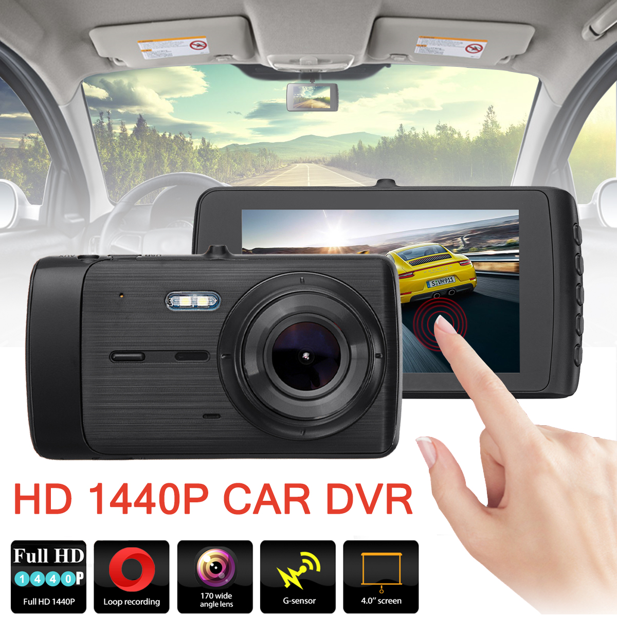 Universal Dual Lens Car Dash Camera HD 1440P Vehicle DVR HD LED Screen Cam Vehicle Video Recorder Night Vision Car DVR Dash Cam iroad dash cam v9