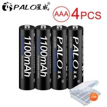 купить PALO 4Pcs Original Battery NI-MH AAA 3A Rechargeable Batteries 1.2V 1100mAh aaa Rechargeable Batteries Bateria дешево