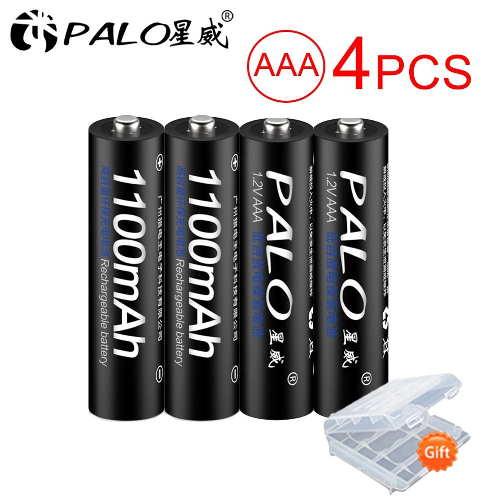 PALO 4pcs Original NI-MH AAA Bateria Recarregável 1.2V 1100mAh Baterias Recarregáveis aaa 3a Bateria para brinquedo de controle remoto controle