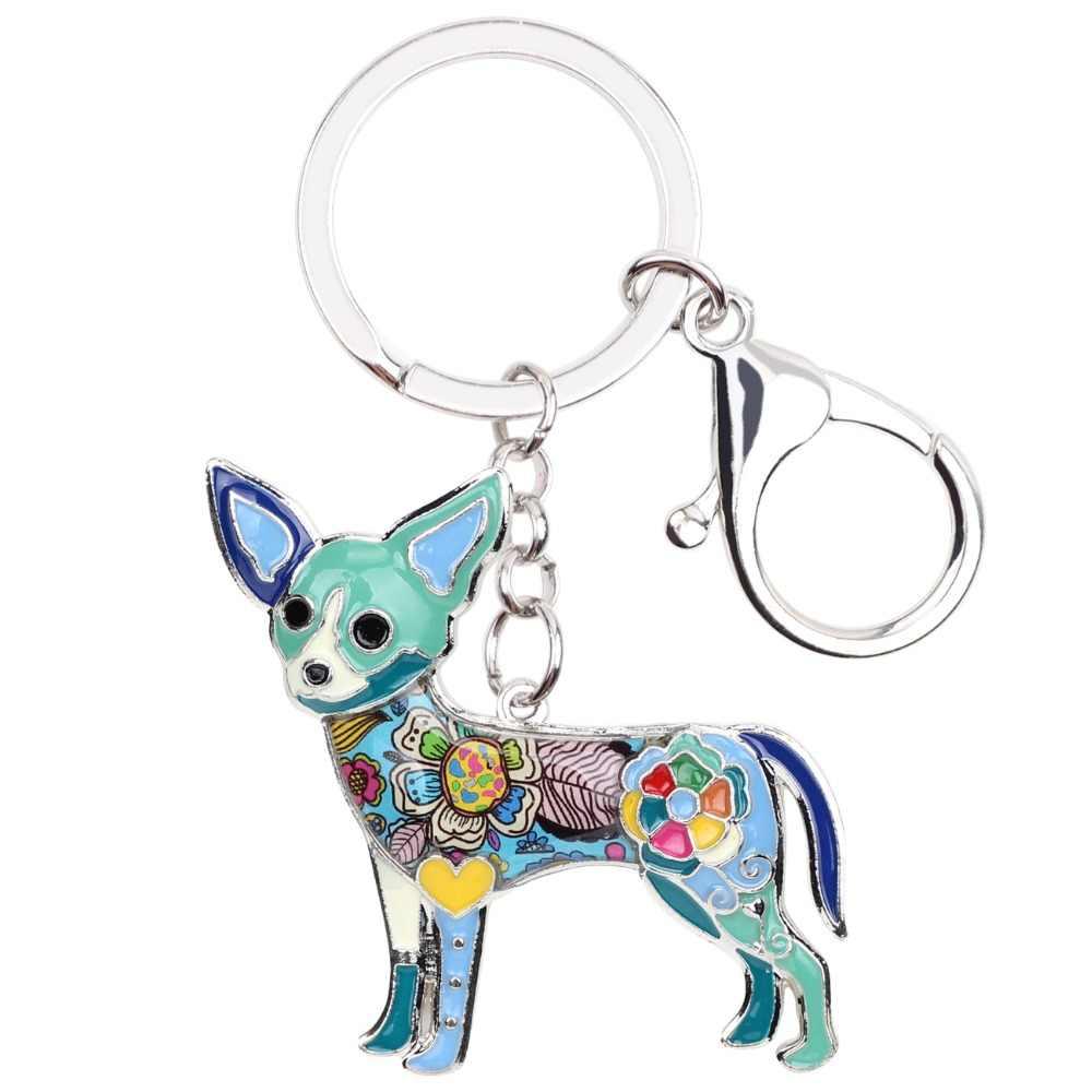 Bonsny エナメル合金チワワ犬キーチェーンキーホルダーリングノベルティ動物ジュエリー女性女の子ペット愛好家の車のバッグチャーム