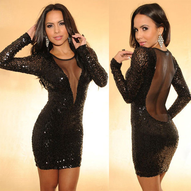 Free shipping!Sexy Fashion low cut long sleeve sequined pencil mini ... e5662111f
