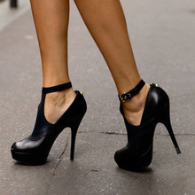 SHOFOO shoes Beautiful stylish free shipping  black leather 12 5 cm high heeled shoes round
