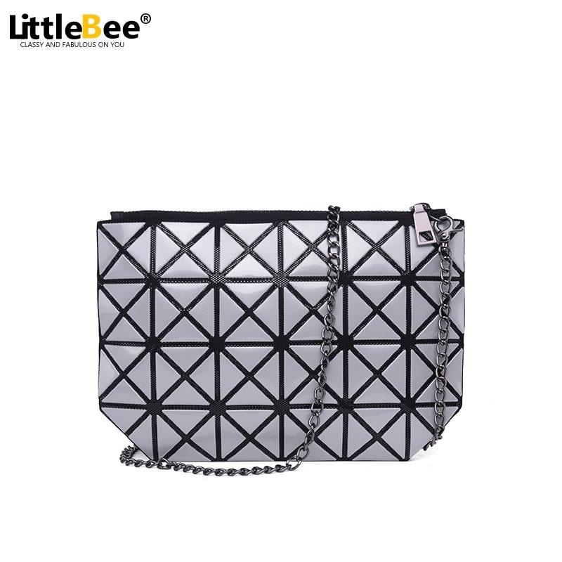 Women Plaid Laser Bag Geometric Shoulder Bags Casual Mini Clutch Bao Bao Makeup Crossbody Bags for Women Messenger Bag Patchwork