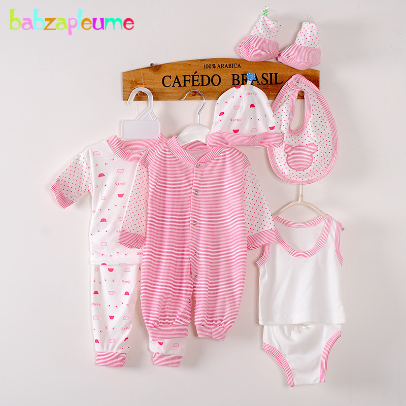 8PCS/Set Newborn Baby Boys Clothes Striped 100%Cotton Long Sleeve Jumpsuit infant suit Toddler Girls outfits Kids Rompers BC1002
