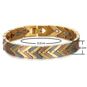 Image 2 - Rainso zdrowie bransoletka magnetyczna bransoletka dla kobiet gorąca sprzedaż bioenergetyczna bransoletka ze stali nierdzewnej złota biżuteria 2020