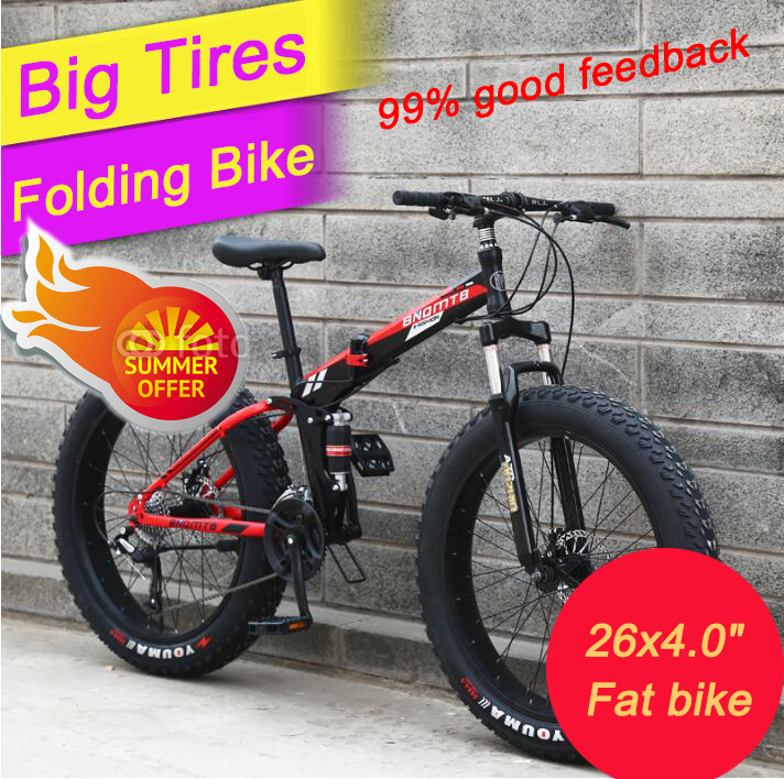 (RUSSIA ONLY)26 inch 7/21/24/2 speed folding fat bike double disc brakes mountain bike big tire snow bike For man and women 26 inch 7 21 27speed cross country mountain bike aluminum frame snow beach 4 0 oversized bicycle tire dirt bikes for men