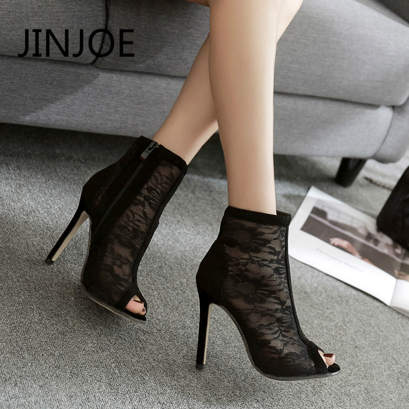 JINJOE heels Summer Boot pumps Sexy lace high heels shoes woman peep Toe Mesh fabric Exquisite Gladiator sandal comfortable wear creativesugar see through mesh lace open toe woman boot sandals high heels 4 1 2 inches party sexy shoes spring summer shoes
