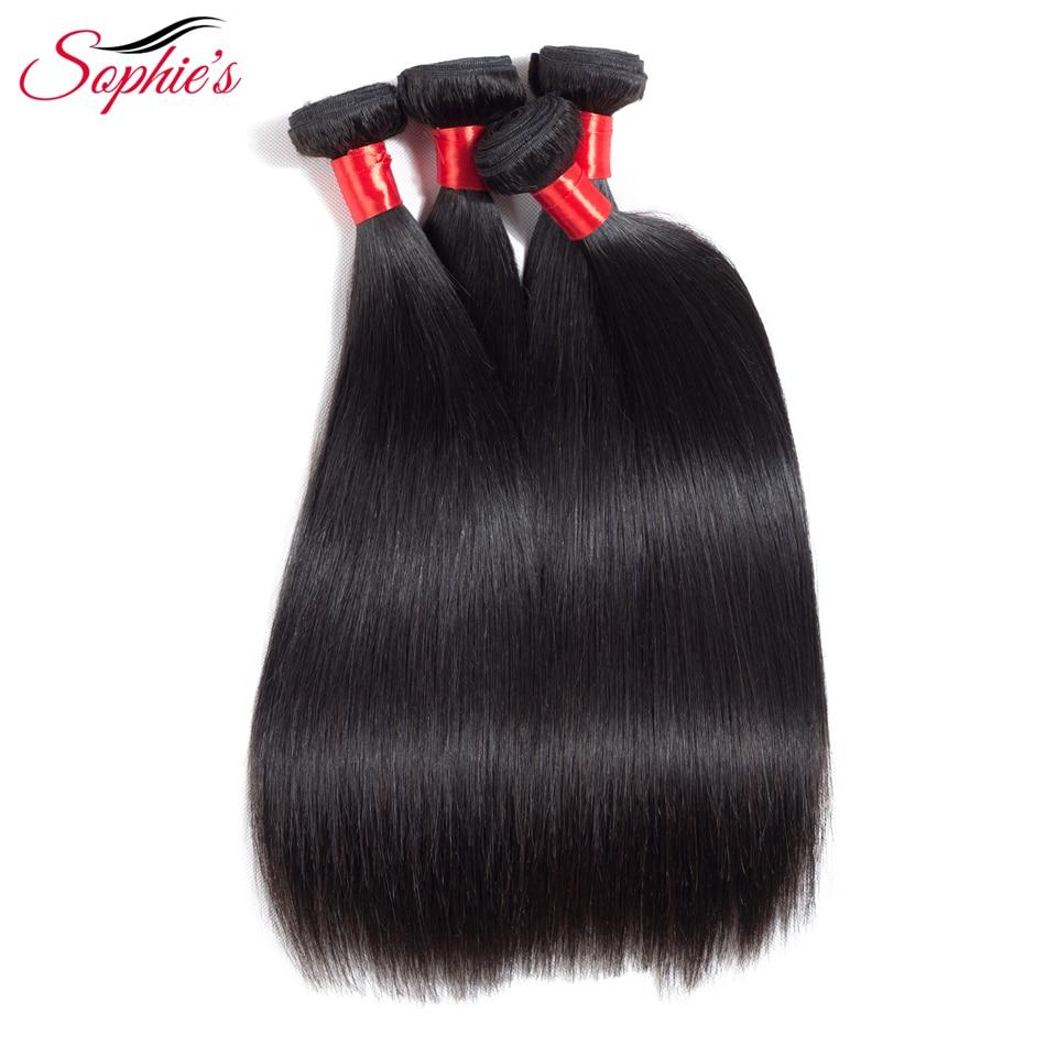 Sophies Hair 4 Bundles Hair Weaves Peruvian Straight Human Non-Remy Hair Bundles Extensions Natural Color