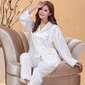 Пижамы Женщин Осень Тонкий Белый дамы Шелковые Пижамы Атласные Пижамы женская Сна Lounge Pajama Наборы Шелковый Pijamas Mujer