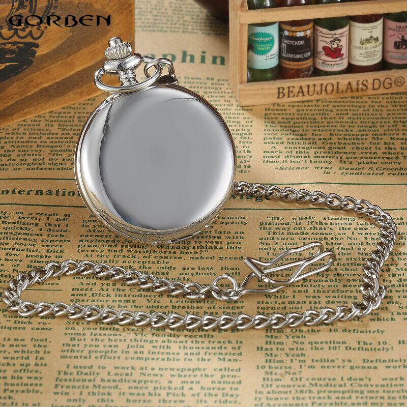 Image 2 - Vintage Silver Smooth Steampunk Mechanical Pocket Watch Roman Numeral Waist Chain 2 Side Open Mens Dual Case Men Pocket Watcheswatch bookwatch elegantwatch altimeter barometer compass thermometer -