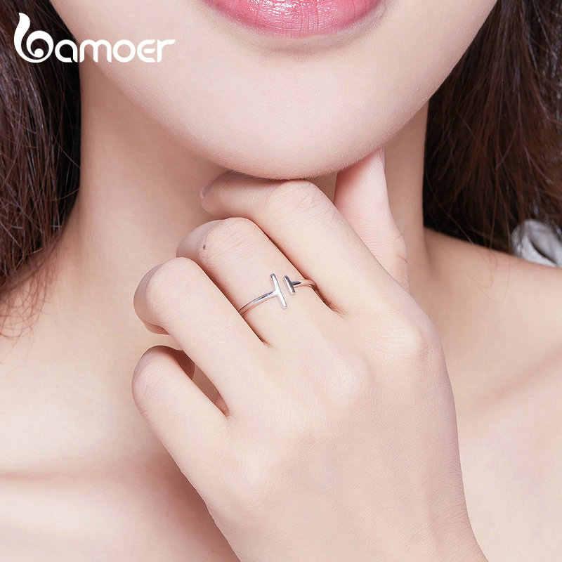 Bameor anel 925 de prata esterlina, anel simples e minimalista, aberto, ajustável, para mulheres, bijoux scr555