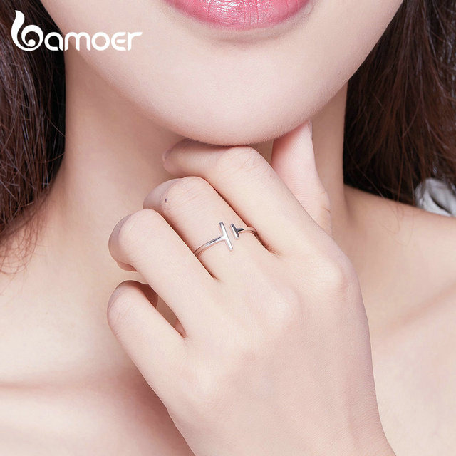 bameor Authentic 925 Sterling Silver Simple Minimalist Open Adjustable Finger Rings for Women Fashion Band Female Bijoux SCR555 3