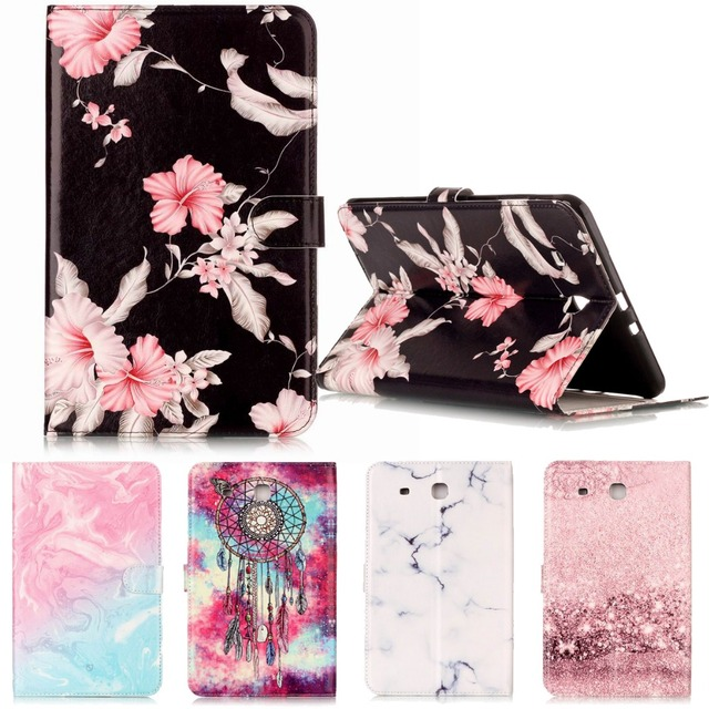 new style 52bca 5ec84 US $14.99 |SM T560 Luxury Flower PU leather Flip Silicone Case for Samsung  Galaxy Tab E 9.6 T560 T561 Book Stand Protective Tablet Cover-in Tablets &  ...
