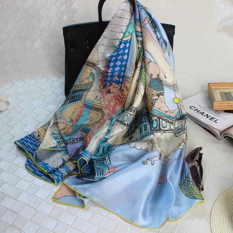 High Grade Natural Silk Square Scarf Bandana High Quality Ladies Neck Dress Fashion Woman Shawl Scarves Girl's Scarfs CJ23