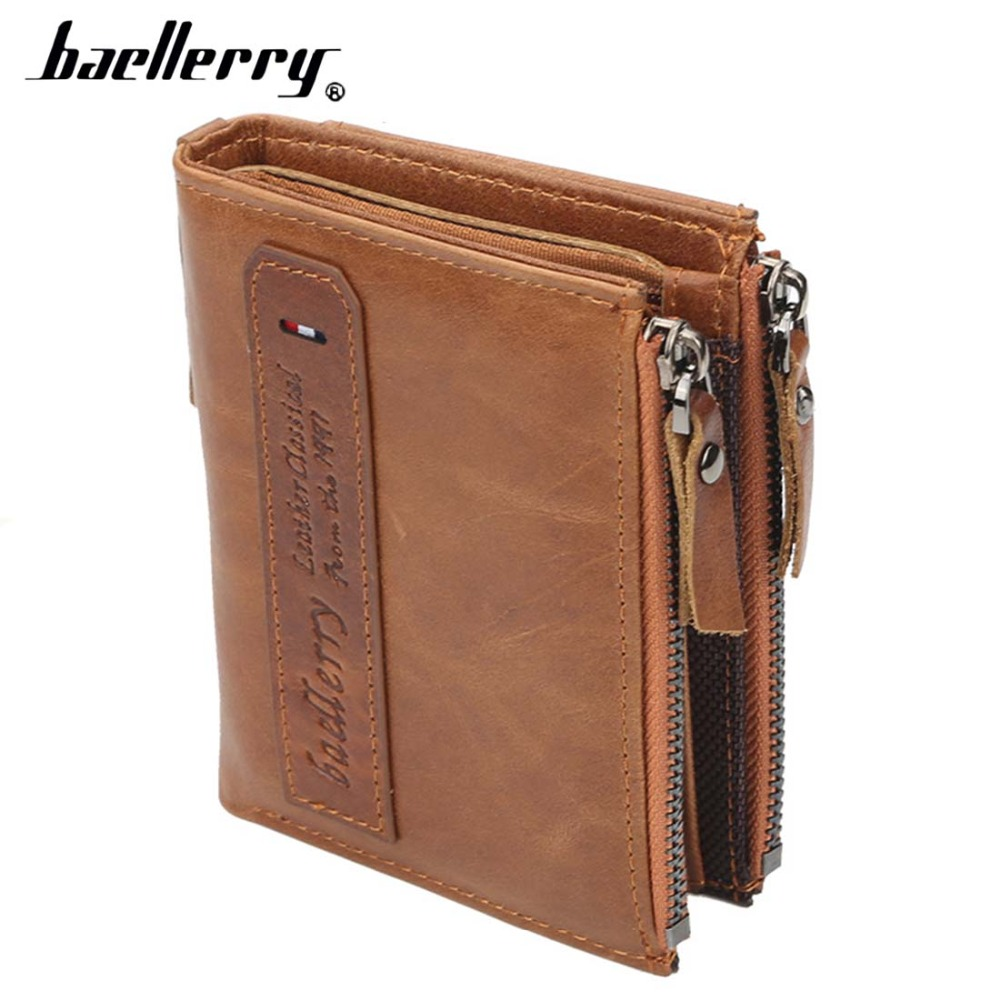 Baellerry Men Wallets Genuine Cow Leather Double Zipper Card Holder High Quality Male Purse Vintage Coin Holder Men Wallets