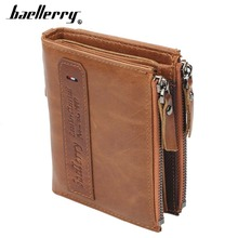 Baellerry Men Wallets Genuine Cow Leather Double Zipper Card Holder High Quality Male Purse Vintage Coin