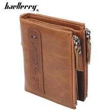 цены Baellerry Men Wallets Genuine Cow Leather Double Zipper Card Holder High Quality Male Purse Vintage Coin Holder Men Wallets