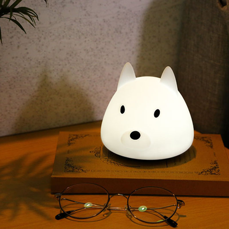 Silicone Touch Sensor LED Night Light Cartoon Husky Dog Kids Light Warm Color Night Lamp for Children Baby Toy Light super soft frisbee ufo style silicone indoor outdoor toy for pet dog light green