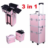 PROMOTION Beauty Trolley Vanity Case Make Up Cosmetic Box Bag Hairdressing Nail Art Salon Alu Mobile