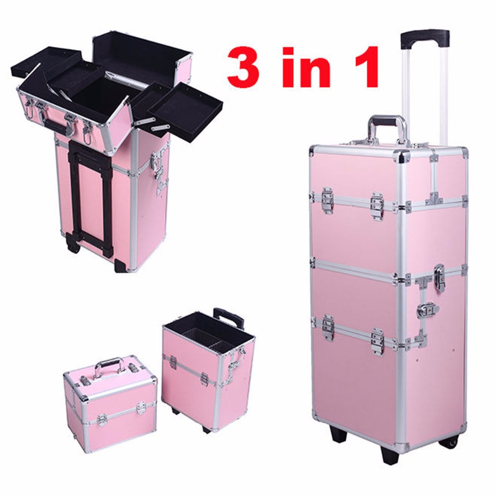 Goplus RU Beauty Trolley Vanity Case Make up Cosmetic Box Bag Hairdressing Nail Art Salon Alu Mobile Beauty Box BG48223