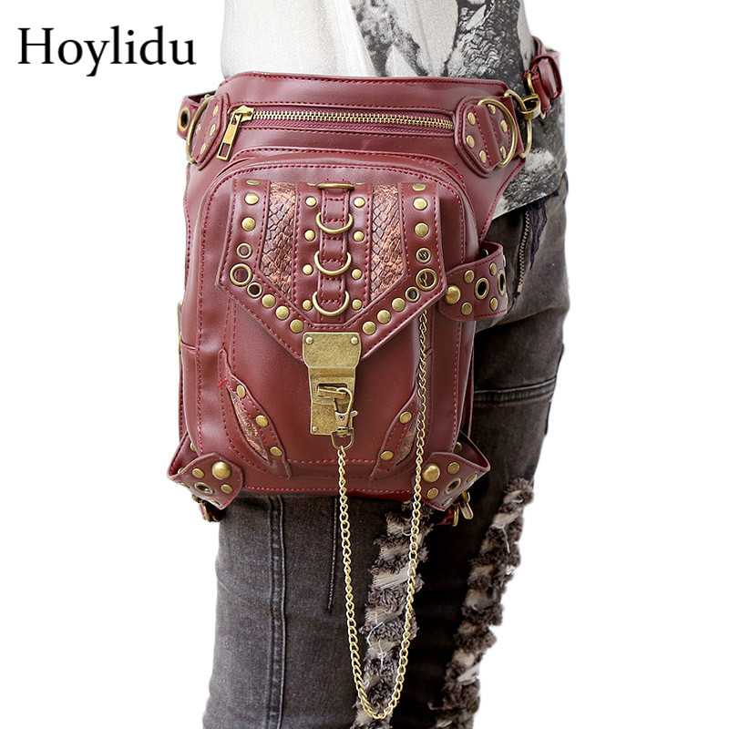 New Gothic Messenger Leg Bag Unisex Steampunk Waist Pack PU Leather Retro Men Shoulder Bags Women Rivet Punk Travel Waist Bags fashion new steampunk rivet shoulder bag crossbody motorcycle messenger bags gothic black pu leather women clutch handbag