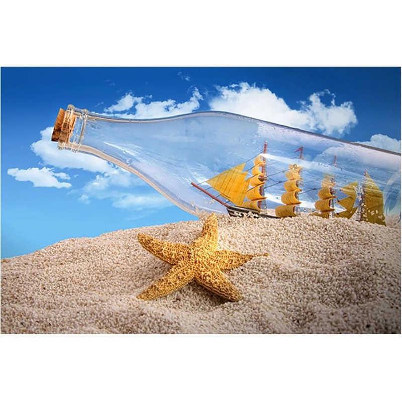 Художественная креативная полная квадратная дрель, крестиком, песком, дрейфом, бутылочкой, морская звезда, мозаика, алмазные декоративные картины домашняя, комнатная, Настенная 5D картинки