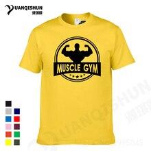 YUANQISHUN New Brand Muscle GY M Fitness T-shirt Cotton Tops Tees Men Short Sleeve Boy Casual Homme Tshirt Fashion T Shirt Plus
