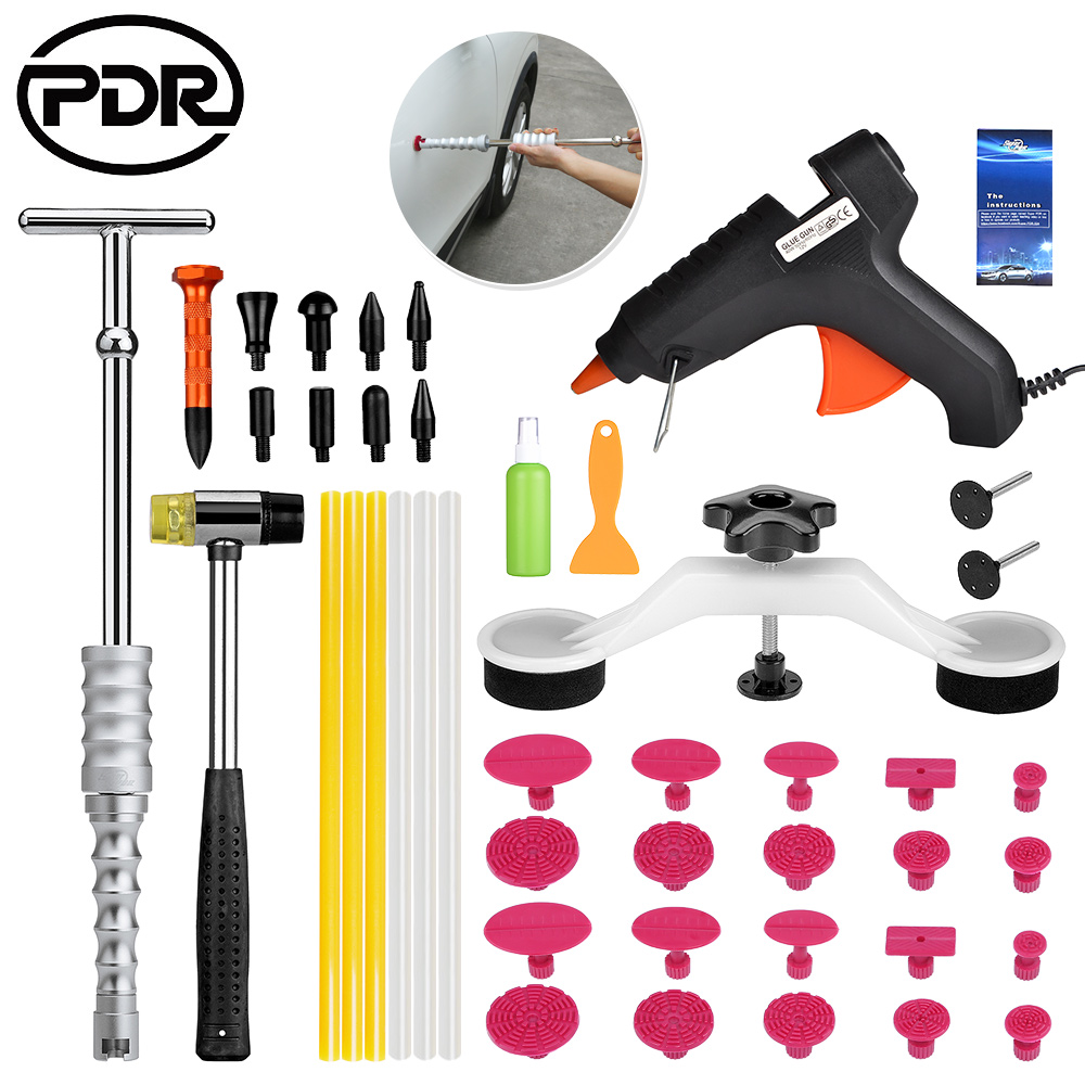 PDR Tools To Remove Dents Auto Repair Tool Set Paintless Dent Repair Tools Dent Removal Dent Puller PDR Glue Tabs Glue Gun pdr tools to remove dents car dent repair paintelss dent removal puller kit lifter removal glue tabs fungi sucker hand tool set