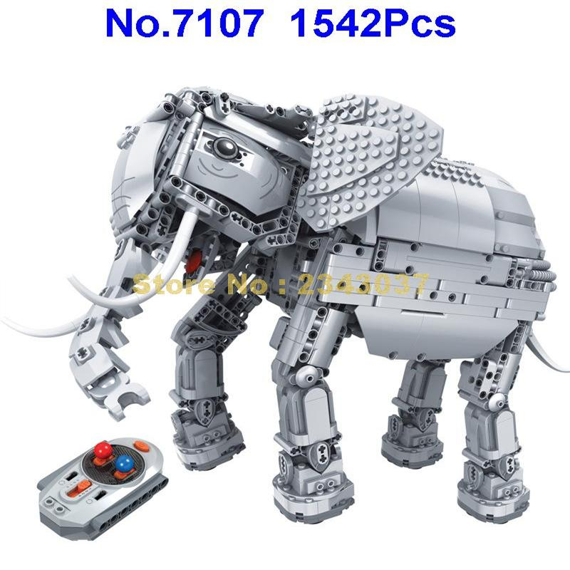 Oyuncaklar ve Hobi Ürünleri'ten Bloklar'de Kazanan 7107 1542 adet yaratıcı rc uzaktan kumanda fil hayvan elektrikli yapı taşı Oyuncak'da  Grup 1