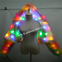 BC03 LED colorful light dance costumes women stage dresses cosplay wears clothes halloween led coat suit singer bar club show dj