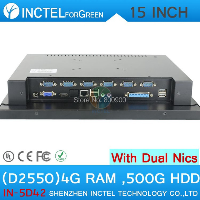2015 all in one touchscreen LED 15 inch computer with Intel D2550 1.86G 1024*768 HDMI 2*RJ45 6*COM 4G RAM 500G HDD