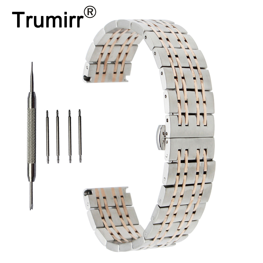 18mm 20mm 22mm Stainless Steel Watch Band for Mido Butterfly Buckle Strap Wrist Belt Bracelet Black Rose Gold Silver stainless steel watch band 22mm 24mm for breitling butterfly buckle strap wrist belt bracelet black silver spring bar tool