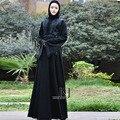 2016 Recién llegado de alta calidad dubai abaya musulmán patchwork llamarada de encaje de manga larga Ropa de talla grande ropa islámica