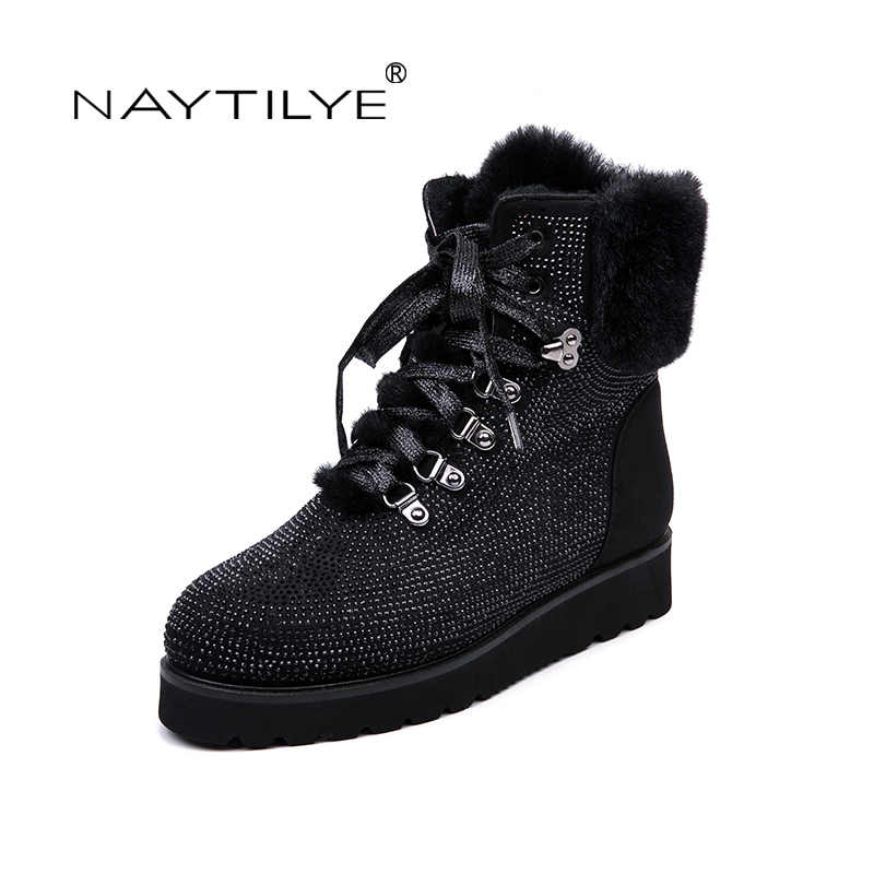 NAYTILYT new PU leather shoes woman ankle warm winter boots women Flat shoes Lace-up round toe nature wool black size 36-40