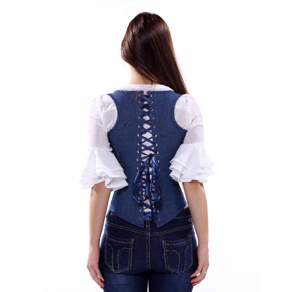 Halter Denim жилет Джинсы для женщин ремни грудью корсет пикантные синие металлической пряжкой белье талии Cincher бюстье S-2XL