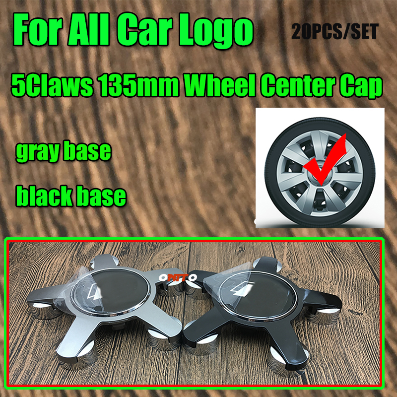 20x Gray black 5claw Wheel Rim Badge Covers Covers 135MM 13 5CM Auto Wheel Hub Cap
