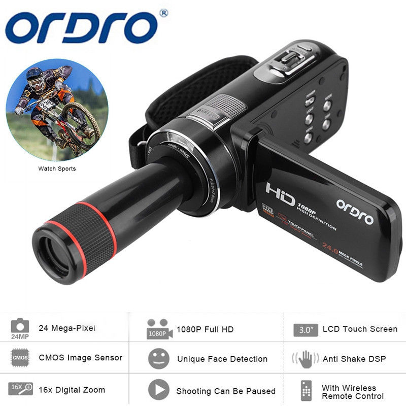 ORDRO HDV-Z8 1080P Full HD Digital Video Camera 24 MP LCD Touch Screen Camcorder with 12x Telephoto Lens Support Face Detection