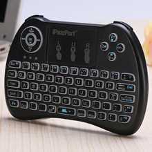 7 Languages iPazzPort Wireless Mini Keyboard QWERTY 2.4GHz Backlight Function with Build-in Battery Touchpad