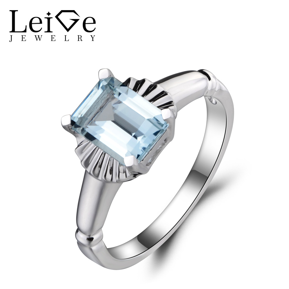 Leige Jewelry Emerald Cut Aquamarine Ring Anniversary Ring Blue Gemstone 925 Sterling Silver March Birthstone Solitaire Ring