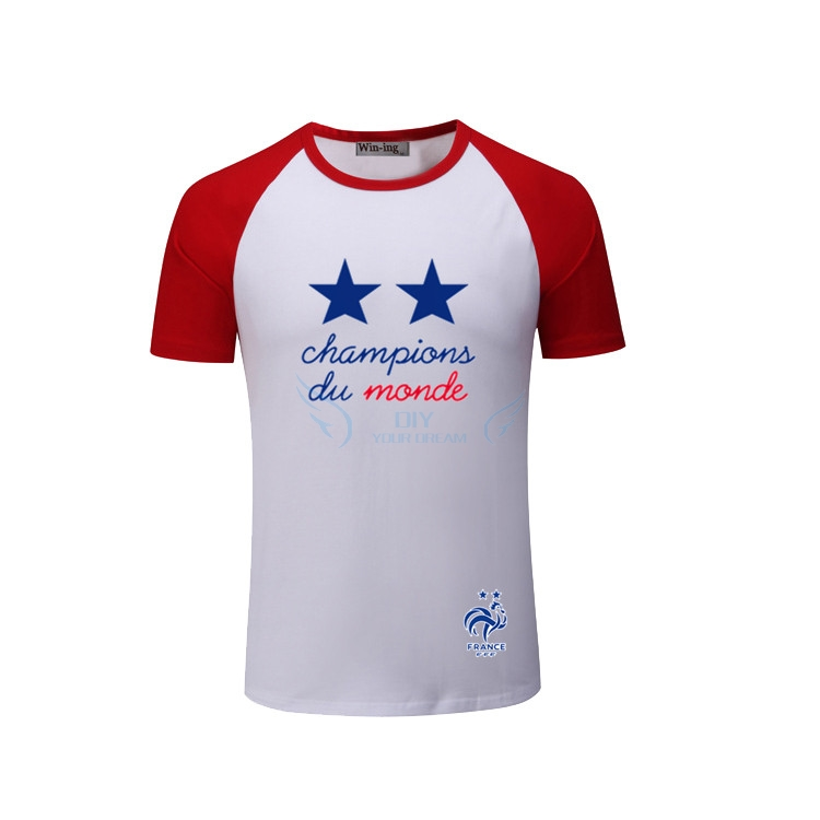 competitive price 32051 d6f80 2018 Printed France 2018 world Champions white blue T shirt for pogba  Mbappe Griezmann Giroud t shirt fans gift-in T-Shirts from Men's Clothing &  ...
