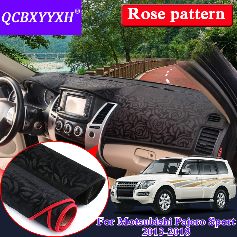 Автомобильный Стайлинг для Mitsubishi Pajero Sport 2013-2018 LHD & RHD розовый узор Коврик для приборной панели защитный внутренний коврик теневая подушка
