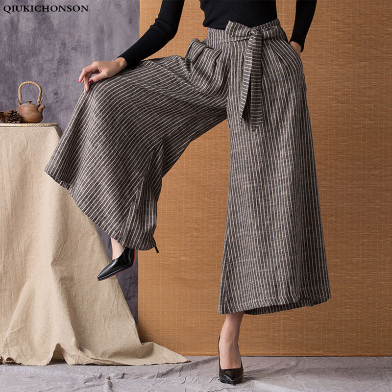 Qiukichonson Ramie Women Stripe Wide Leg   Pants   2019 New Fashion Lace Up Vintage High Waist   Capri     Pants   Casual Plus Size   Pants