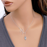 Sell Ornaments Simple Leaf Lovely Owl Ma'am Short Money Chain silver 925 jewelry christmas gift boho 070JES xiangl bijoux femme
