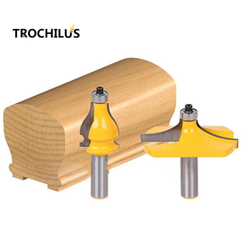 2PCS handrails cutter1/2 inch woodworking cutter high-end armrest line cutter cnc router bits Carbide milling cutter high grade carbide alloy 1 2 shank 2 1 4 dia bottom cleaning router bit woodworking milling cutter for mdf wood 55mm mayitr